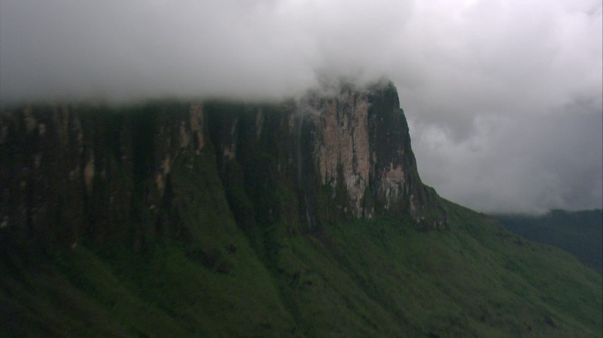 Zoom closer to a mountain waterfall in Southern Venezuela Aerial Stock Footage | AF0001_000611