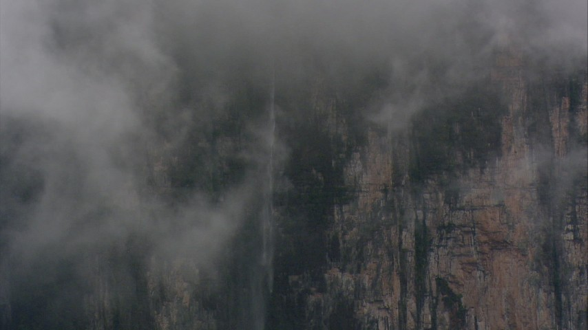 A waterfall on a mountain cliff in Southern Venezuela Aerial Stock Footage | AF0001_000612