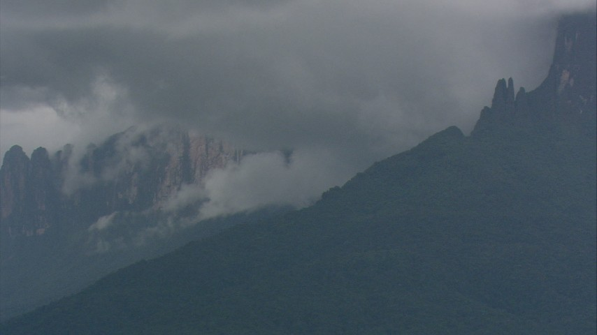 HD stock footage aerial video of peaks partially covered by jungle and dense clouds in Southern Venezuela Aerial Stock Footage | AF0001_000626