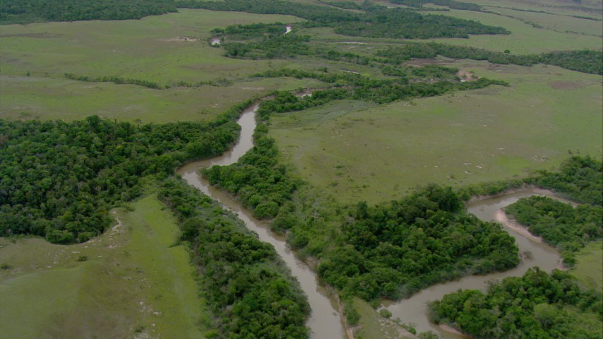 HD stock footage aerial video pan across a river cutting through savanna, and approach a tree-lined bend in the river in Southern Venezuela Aerial Stock Footage | AF0001_000658