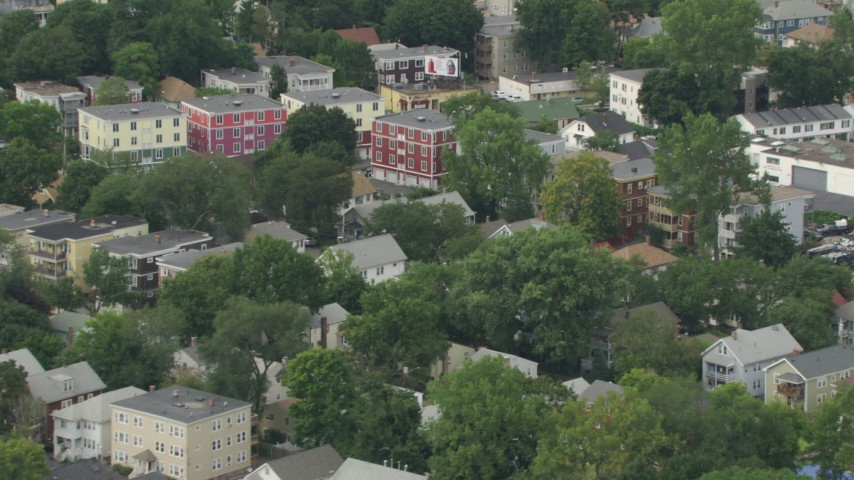 HD stock footage aerial video of apartment buildings in Hyde Park, Massachusetts Aerial Stock Footage | AF0001_000706
