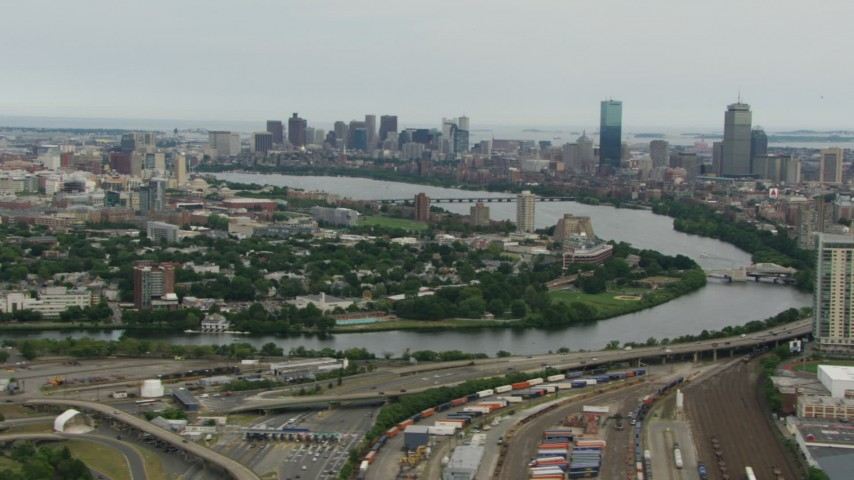 HD stock footage aerial video of Cambridge, the Charles River, and Downtown Boston, Massachusetts Aerial Stock Footage | AF0001_000714