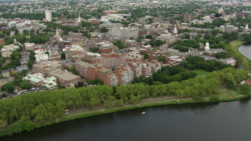 Approach and flyby campus buildings at Harvard University, Cambridge, Massachusetts Aerial Stock Footage | AF0001_000716