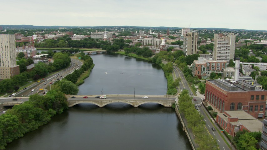 Follow the Charles River to Harvard University, Cambridge, Massachusetts Aerial Stock Footage | AF0001_000719