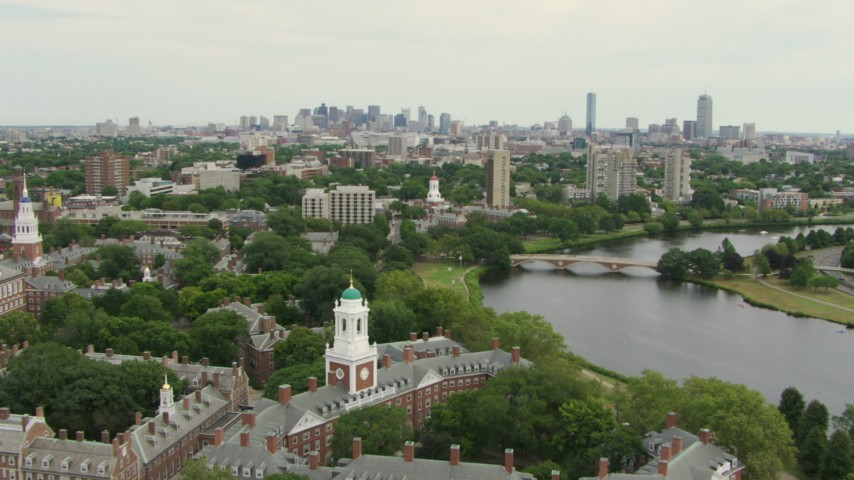 Fly over Eliot House to approach Dunster House at Harvard University, Cambridge, Massachusetts Aerial Stock Footage | AF0001_000724