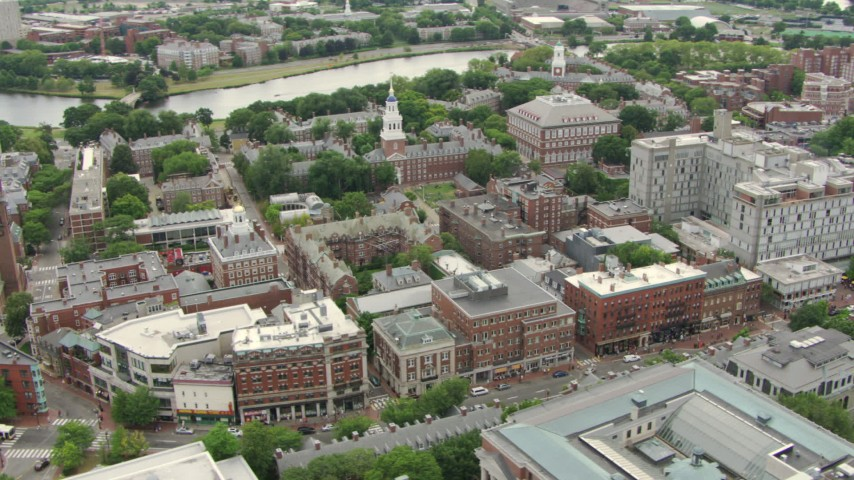 Harvard University campus buildings, reveal Harvard Square in Cambridge, Massachusetts Aerial Stock Footage | AF0001_000728