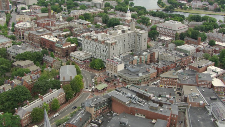 Orbiting Harvard University campus and Harvard Square in Cambridge, Massachusetts Aerial Stock Footage | AF0001_000729