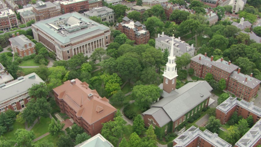 HD stock footage aerial video of Memorial Church, Widener and Grossman Libraries, and Thayer Hall at Harvard University, Cambridge, Massachusetts Aerial Stock Footage | AF0001_000731