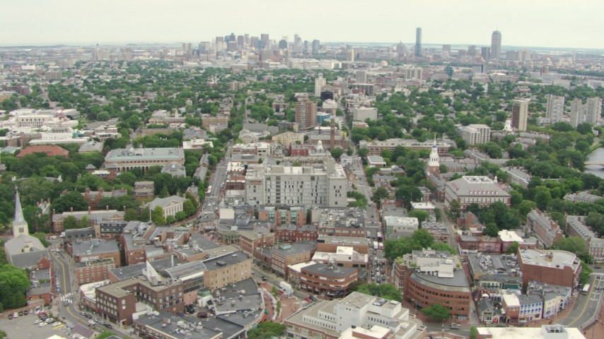 Downtown Boston skyline seen from Harvard University in Cambridge, Massachusetts Aerial Stock Footage | AF0001_000733