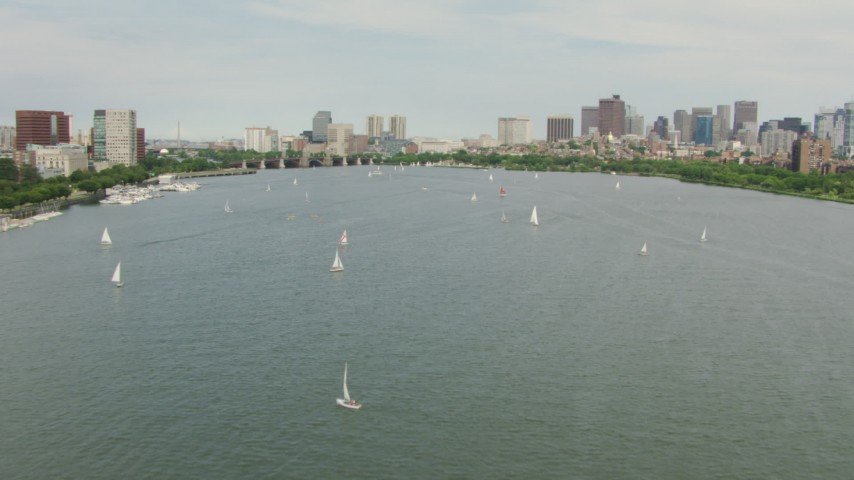 HD stock footage aerial video fly over sailboats on the Charles River to approach Downtown Boston, Massachusetts Aerial Stock Footage | AF0001_000740