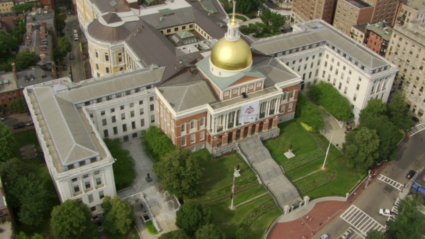 HD stock footage aerial video of the Massachusetts State House in Downtown Boston, Massachusetts Aerial Stock Footage | AF0001_000743