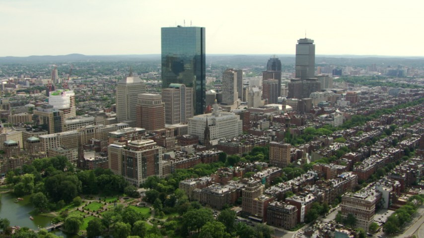 Approach John Hancock Tower in Downtown Boston, Massachusetts Aerial Stock Footage AF0001_000747