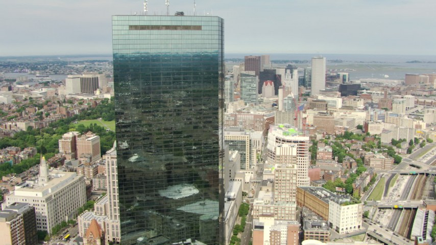 HD stock footage aerial video orbit John Hancock Tower in Downtown Boston, Massachusetts Aerial Stock Footage | AF0001_000748