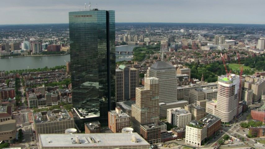 Orbit the John Hancock Tower skyscraper in Downtown Boston, Massachusetts Aerial Stock Footage | AF0001_000749