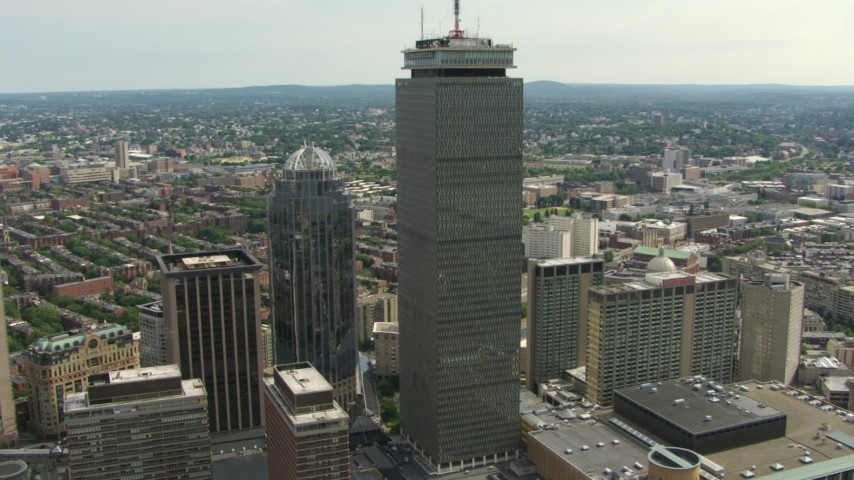 111 Huntington Avenue and Prudential Tower skyscrapers in Downtown Boston, Massachusetts Aerial Stock Footage AF0001_000752