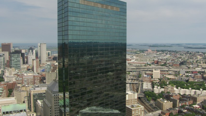 Flyby John Hancock Tower to reveal Boston Common and skyscrapers in Downtown Boston, Massachusetts Aerial Stock Footage | AF0001_000753