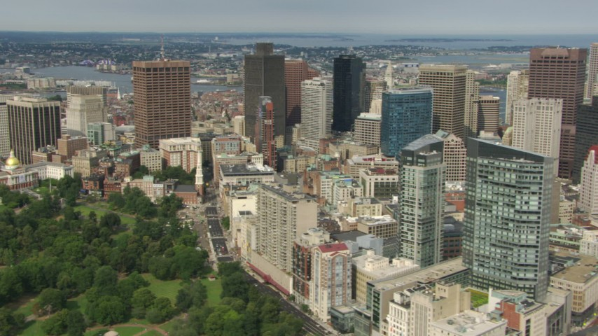 Flyby skyscrapers and Boston Common in Downtown Boston, Massachusetts Aerial Stock Footage | AF0001_000754