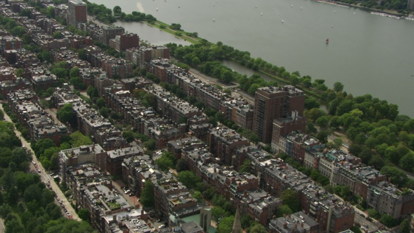 Victorian brownstone homes in Back Bay, Downtown Boston, Massachusetts Aerial Stock Footage | AF0001_000755