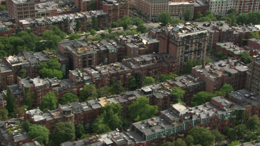 HD stock footage aerial video flyby Victorian brownstone homes in Back Bay, Downtown Boston, Massachusetts Aerial Stock Footage | AF0001_000756