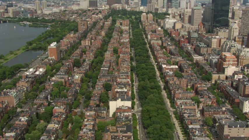 Rows of Victorian brownstones in Back Bay, Downtown Boston, Massachusetts Aerial Stock Footage AF0001_000757
