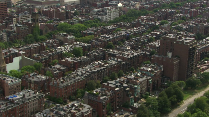 HD stock footage aerial video of flying by Victorian brownstone homes in Back Bay, Downtown Boston, Massachusetts Aerial Stock Footage | AF0001_000760