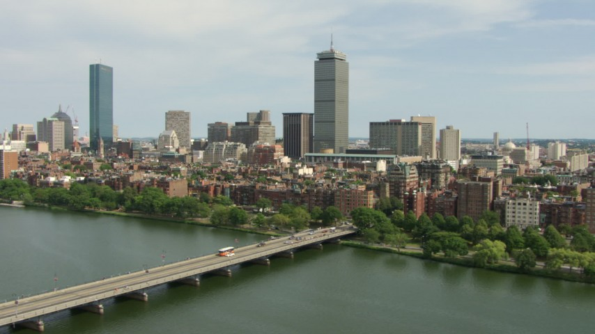 HD stock footage aerial video of Back Bay brownstones and skyscrapers in Downtown Boston, Massachusetts Aerial Stock Footage | AF0001_000763
