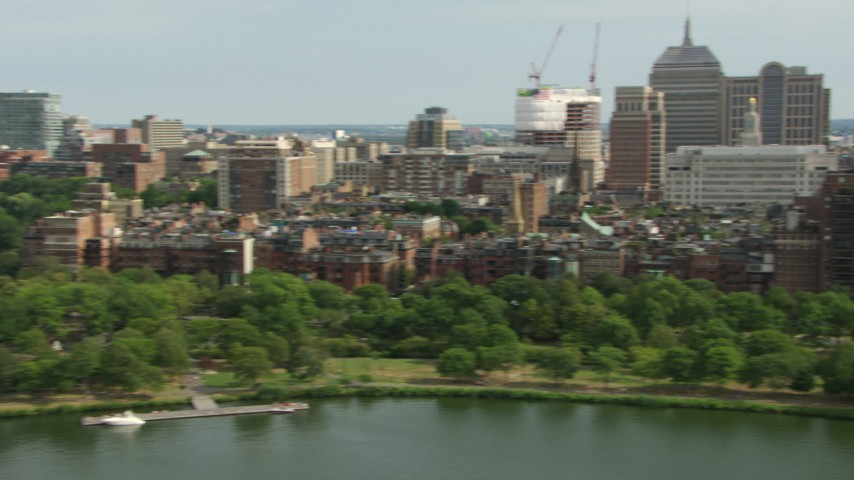 HD stock footage aerial video of Victorian brownstones in Back Bay, Charles River Esplanade, Downtown Boston, Massachusetts Aerial Stock Footage | AF0001_000766