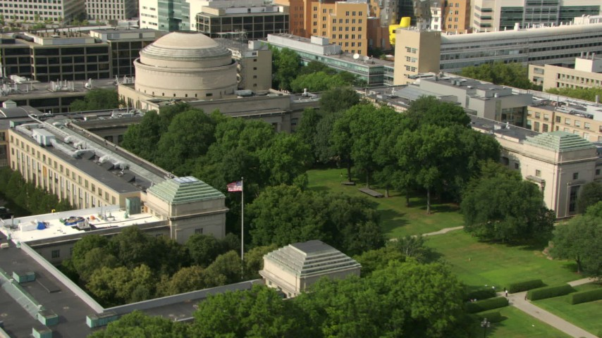 Orbit Maclaurin Building at Massachusetts Institute of Technology, Cambridge, Massachusetts Aerial Stock Footage | AF0001_000769