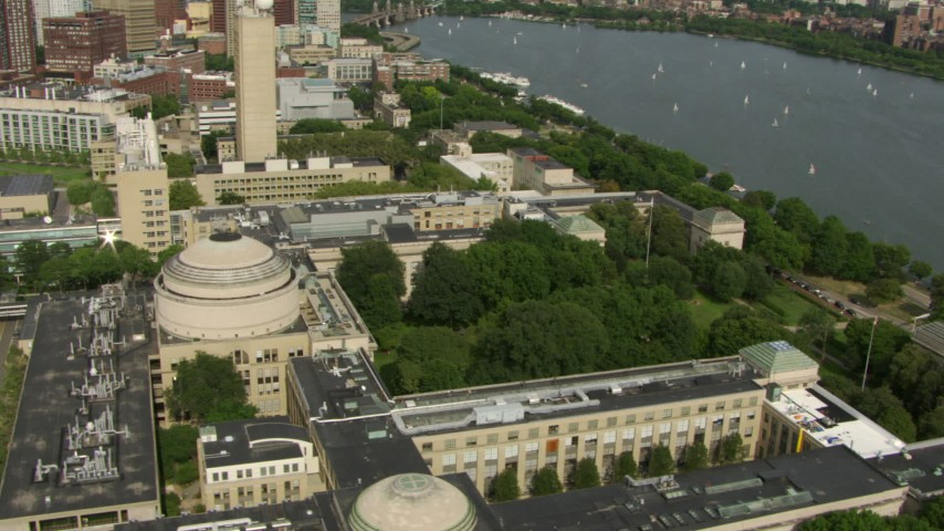 An orbit of the Maclaurin Building at the Massachusetts Institute of Technology, Cambridge, Massachusetts Aerial Stock Footage | AF0001_000770