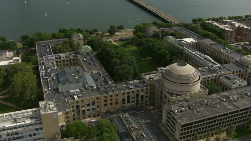 HD stock footage aerial video of the Maclaurin Building at the Massachusetts Institute of Technology, Cambridge, Massachusetts Aerial Stock Footage | AF0001_000771