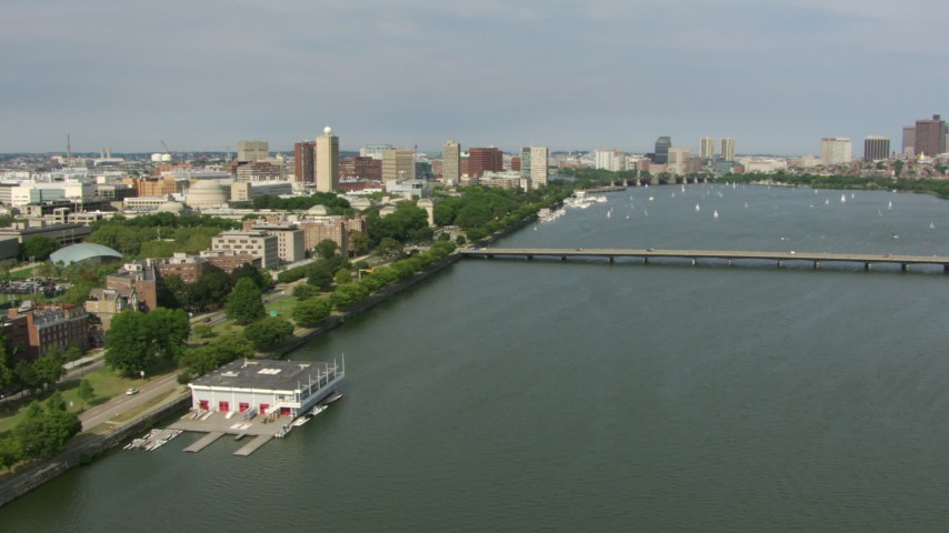 Approach the campus of Massachusetts Institute of Technology and Harvard Bridge, Cambridge, Massachusetts Aerial Stock Footage | AF0001_000776