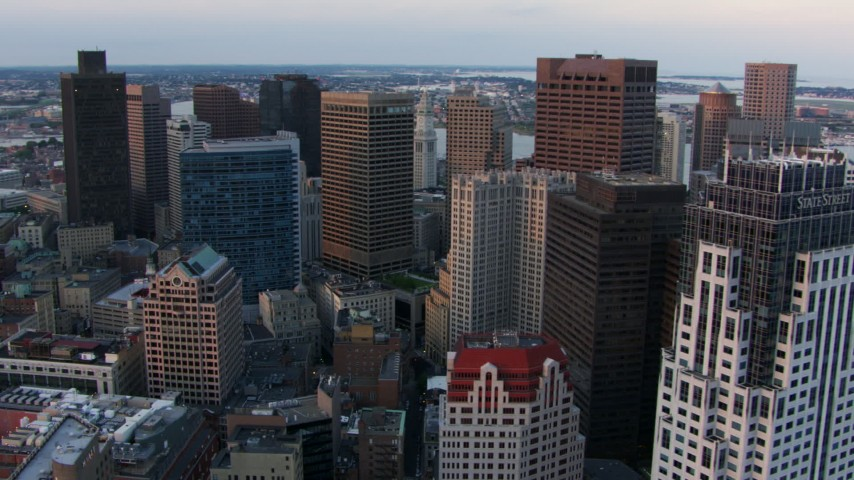 Flyby One Lincoln Street and skyscrapers in Downtown Boston, Massachusetts, twilight Aerial Stock Footage | AF0001_000795