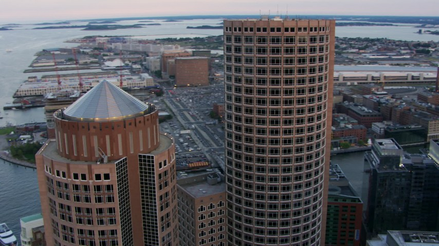 HD stock footage aerial video orbit the tops of One and Two International Place, Downtown Boston, Massachusetts, twilight Aerial Stock Footage | AF0001_000798