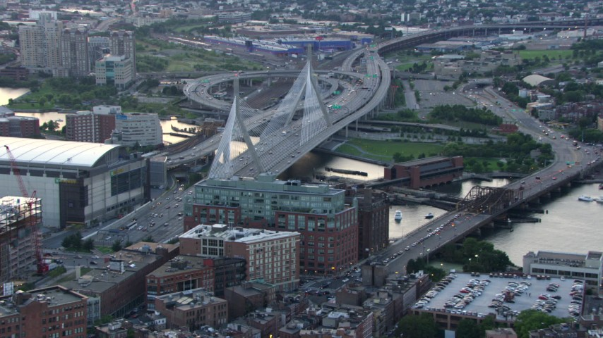 Approach and flyby the Zakim Bridge, Boston, Massachusetts, twilight Aerial Stock Footage | AF0001_000800