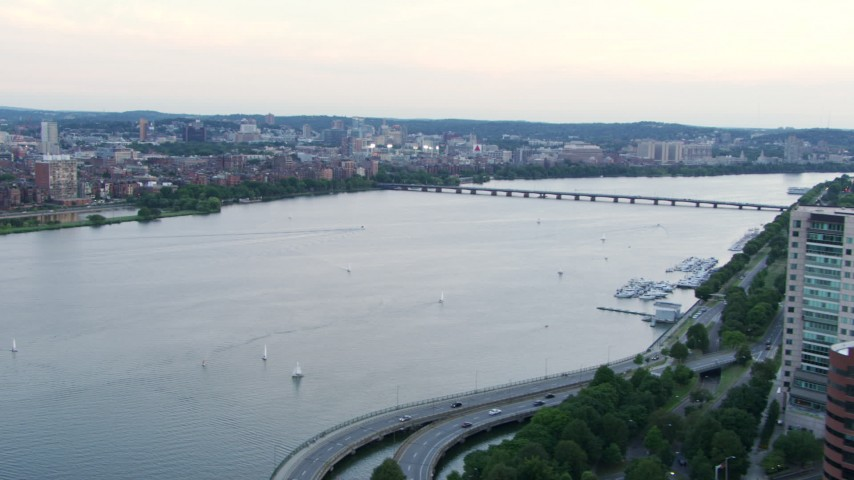HD stock footage aerial video of sailboats on the Charles River near the Harvard Bridge in Boston, Massachusetts, twilight Aerial Stock Footage | AF0001_000805