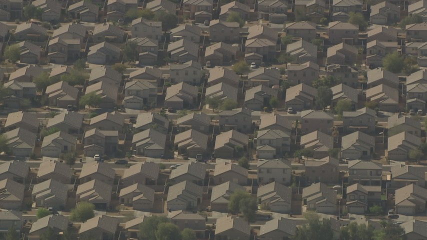 HD stock footage aerial video of rows of tract homes in Surprise, Arizona Aerial Stock Footage | AF0001_000837