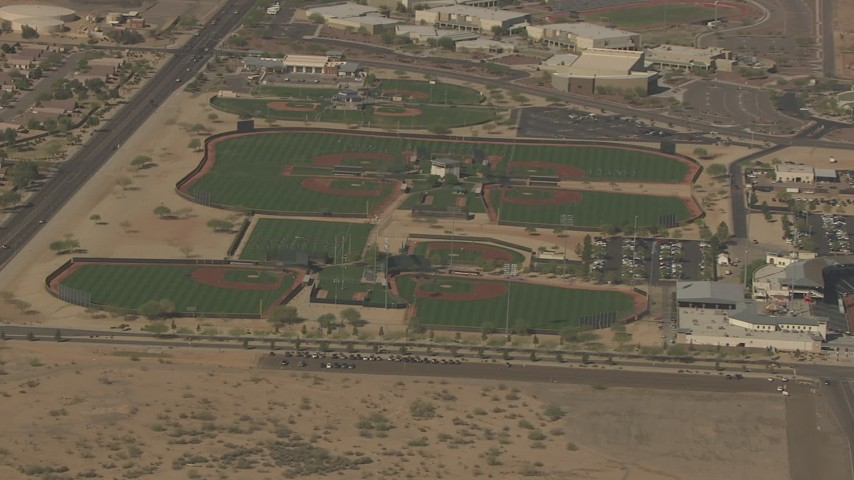 HD stock footage aerial video of baseball diamonds at Surprise Recreation Campus, Surprise, Arizona Aerial Stock Footage | AF0001_000840