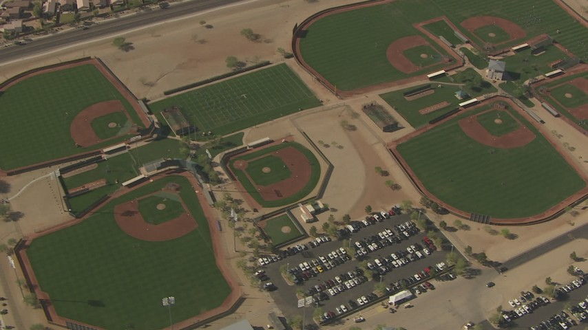 HD stock footage aerial video of a bird's eye view of baseball diamonds, reveal Valley Vista High School, Surprise, Arizona Aerial Stock Footage | AF0001_000842