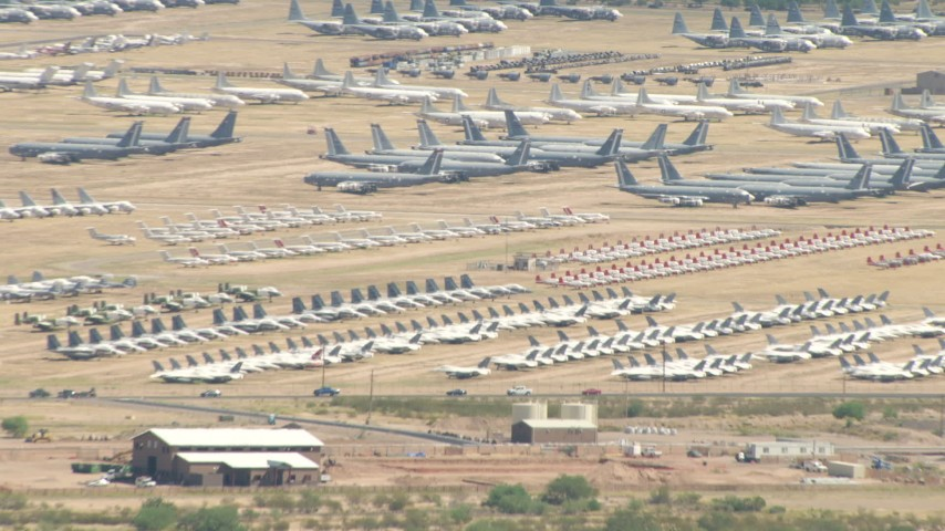 An aircraft boneyard at Davis Monthan AFB, Tucson, Arizona Aerial Stock Footage | AF0001_000852