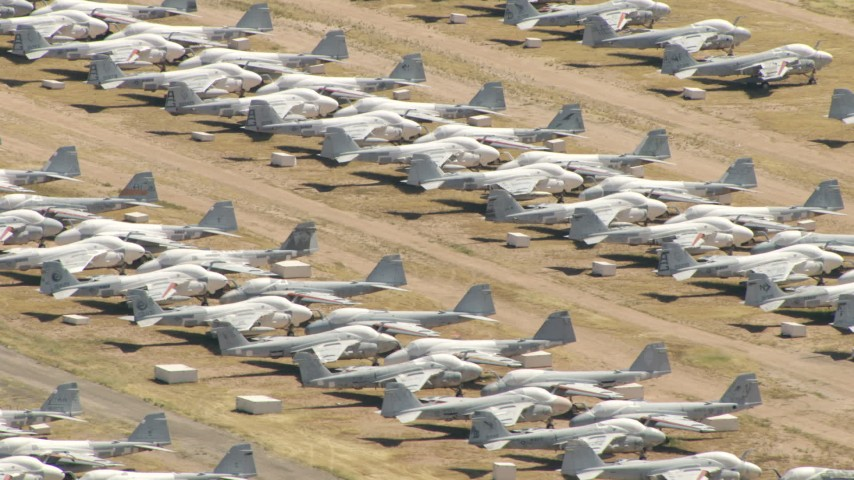 Air Force fighter jets at an aircraft boneyard, Davis Monthan AFB, Tucson, Arizona Aerial Stock Footage AF0001_000856