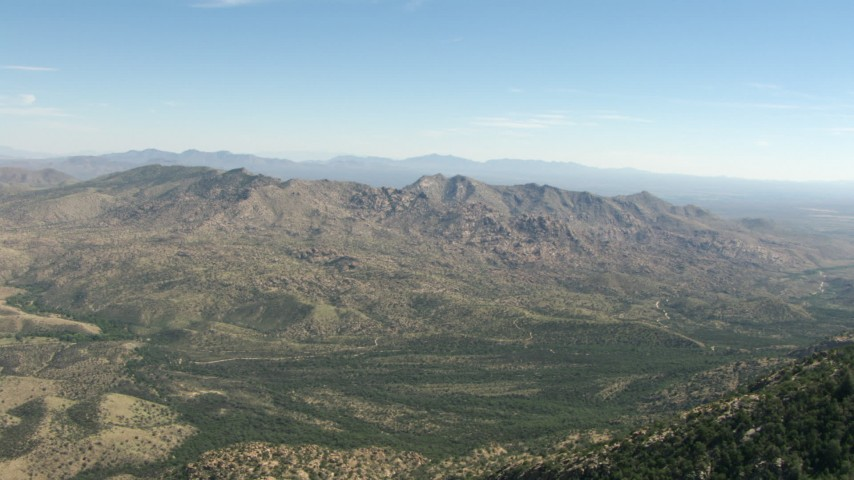 HD stock footage aerial video of approaching Mae West Peaks, Cochise County, Arizona Aerial Stock Footage | AF0001_000869