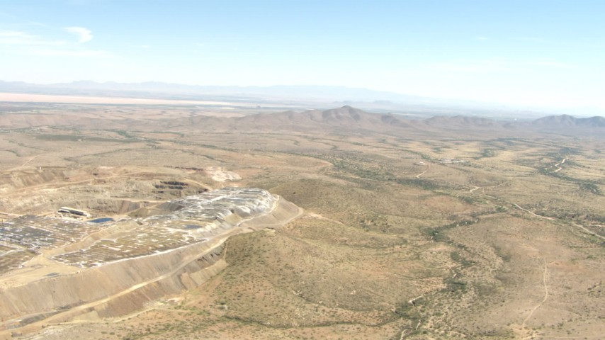 HD stock footage aerial video approach a desert quarry near Dragoon, Arizona Aerial Stock Footage | AF0001_000874