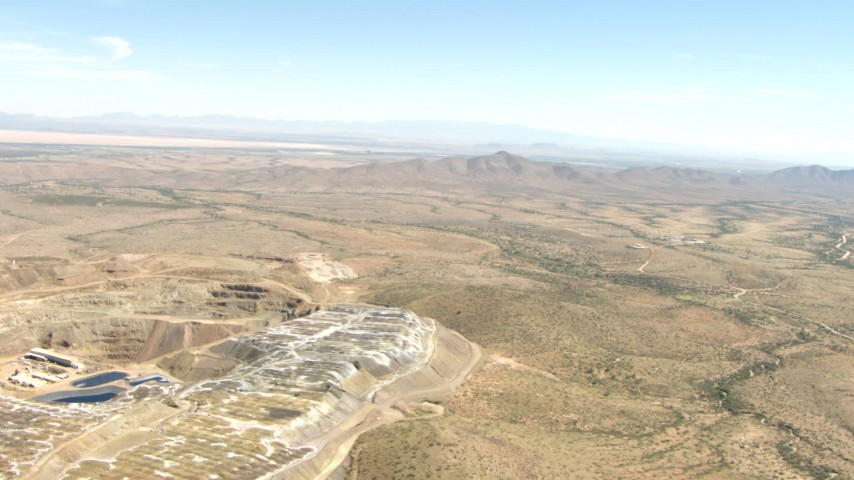 HD stock footage aerial video of flying over a quarry in the desert near Dragoon, Arizona Aerial Stock Footage | AF0001_000875