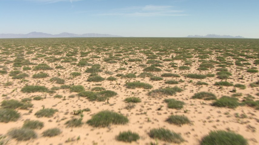 HD stock footage aerial video fly low over desert plants in an arid plain in New Mexico Aerial Stock Footage | AF0001_000900