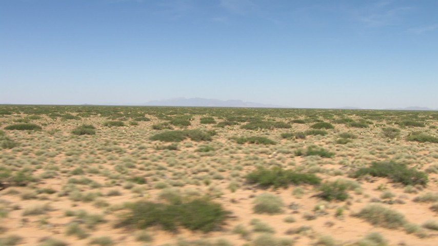 HD stock footage aerial video fly low past vegetation in an arid desert plain, New Mexico Aerial Stock Footage | AF0001_000908