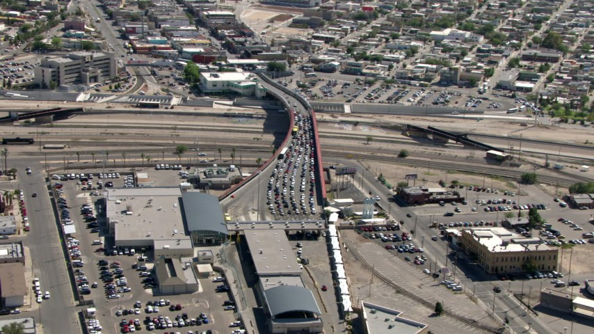 Heavy traffic on the Paso del Norte International Bridge / Santa Fe Bridge, El Paso/Juarez Border Aerial Stock Footage | AF0001_000932