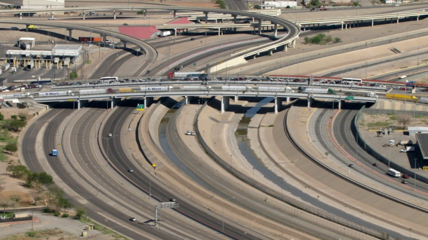HD stock footage aerial video of heavy traffic on the Bridge of the Americas on the border between El Paso, Texas, and Juarez, Mexico Aerial Stock Footage | AF0001_000934