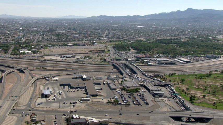 The Bridge of the Americas, with Ciudad Juarez in the background, El Paso/Juarez Border Aerial Stock Footage | AF0001_000936