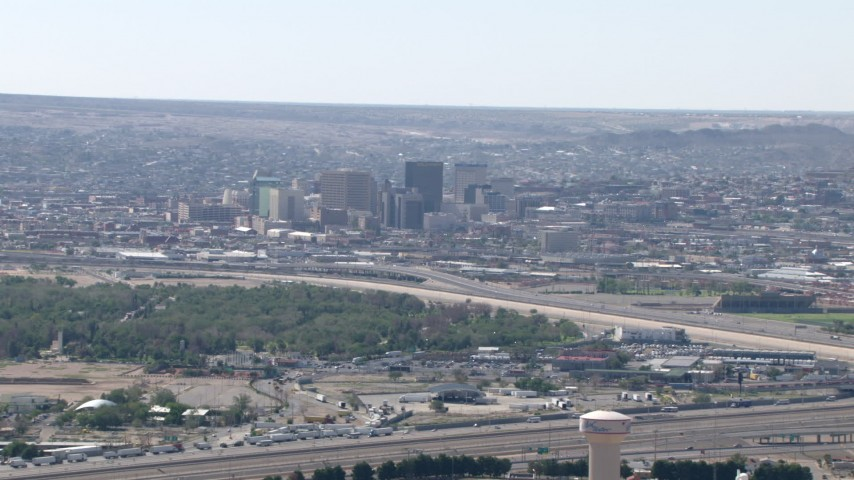 HD stock footage aerial video of a view of city buildings in Downtown El Paso, Texas Aerial Stock Footage | AF0001_000944