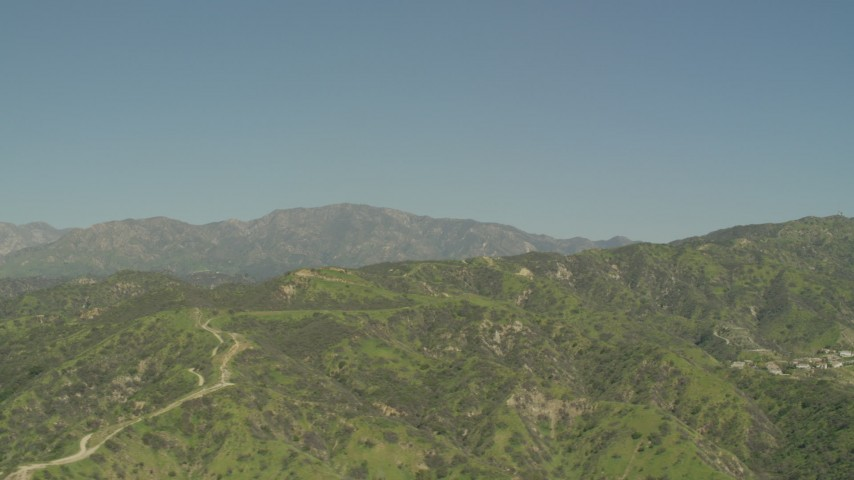 5K stock footage aerial video of Green Verdugo Mountains and hillside homes in Burbank, California Aerial Stock Footage | AF0001_000971